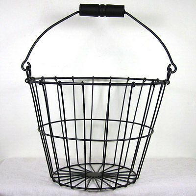 Rustic Black Vintage Style  Wire Egg Basket Primitive Colonial Americana Sweet!!