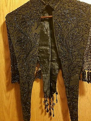 1800s Victorian Mourning Capelet Silk/ Glass Bead Shawl with Vintage Gloves/hats