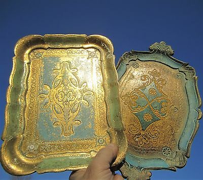 2 Italy Florentine Florentia Gold Gilt Aqua Tole Turquoise Serving Jewelry Trays