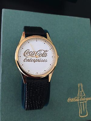 Coca Cola Enterprises Watch Black Gold Leather Strap 2003 - Employee Gift RARE!