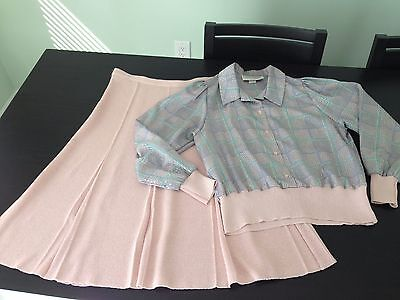 Vintage Castleberry Pink Pastel Skirt Suit Blouse Set Womens Made in USA