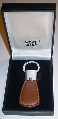 Beautiful Authentic Tan Leather Montblanc Key Fob Key Chain in MontBlanc Box
