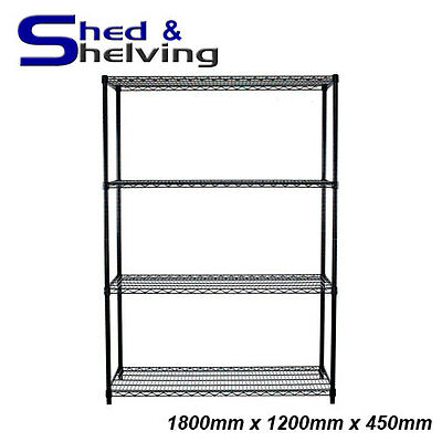 Wire Mesh Cool Room Shelving Black Epoxy Coated Kitchen Laundry 1800x1200x450mm