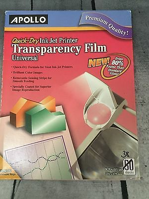 """Apollo Quick Dry Ink Jet Printer Transparency Film 38 Sheets 8.5x11"""" CG7033S"""