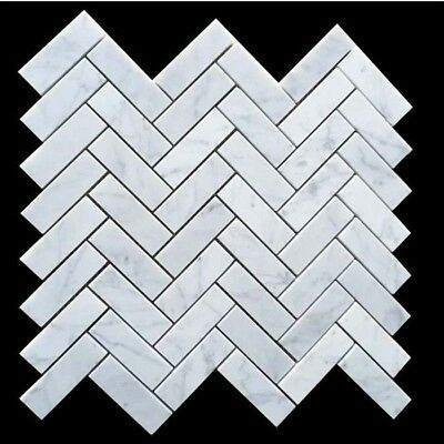 Carrara Herringbone Honed Marble Mosaic 25x75 mm