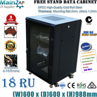 "18U 18RU 19"" 600mm Wheel Stand Server Cabinet CCTV Computer Data Rack Storage"