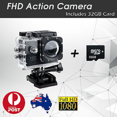 Include 32GB SD Card Waterproof Sports Action Video Camera 1080p TRUE HD