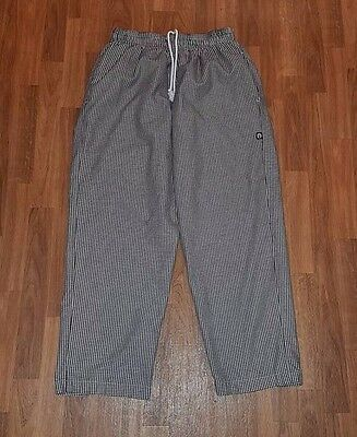 Chef Works, Chef Pants, Black And White Checkers, Men's Size L, Elastic Waist