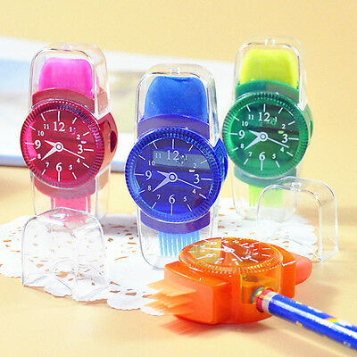 Creative Grinder Cartoon Watches Sliced Pencil Sharpener With Erasers Brush 1Pc