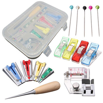 60Pcs Fabric Bias Binding Tape Maker Kit Binder Foot For Sewing & Quilting + AWL