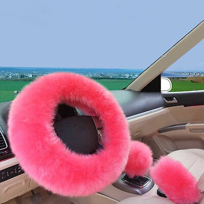 Car 1 Set Pink Furry Steering Wheel Cover, Shifter Cover and Parking Brake Cover