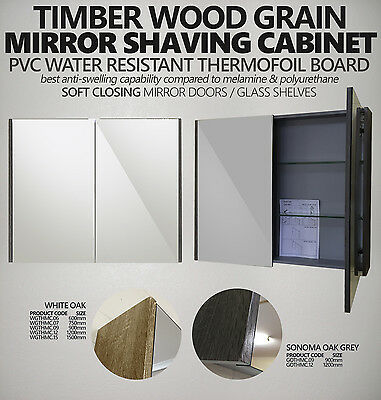 Mirror Shaving Cabinet w Timber Wood Grain Side Panels | 600/750/900/1200/1500mm
