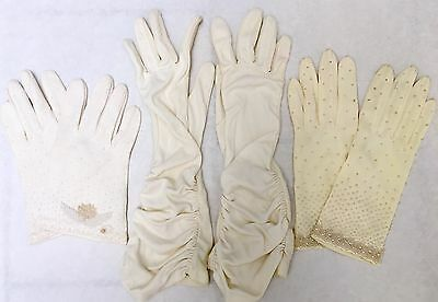 Lot of 3 Vintage Cream Women's Cotton Nylon Beaded Ruched Gloves Size Small