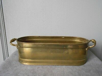 "French Vintage  BRASS  PLANTER JARDINIERE 12"" Length"