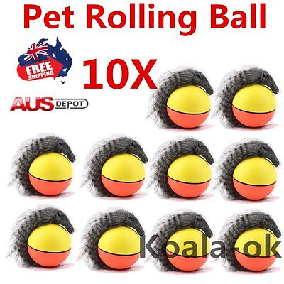 10 Dog Cat Weasel Motorized Funny Rolling Ball Pet Appears Jump Moving Alive Toy