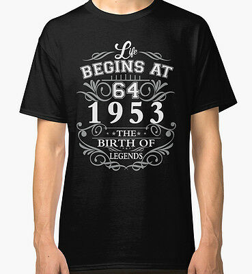 NEW Life begins at 64 1953 The birth of legends Men Black Tshirt Size S-2XL