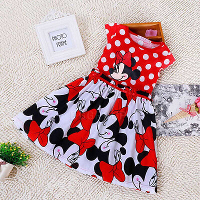 Size 1-2-3-4-5-6Y Reds Minnie Mouse Polka Dots Party Outfit Flower Girls Dresses