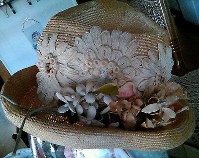 Old  Antique Straw Ladies Lawn Hat  Lovely Millenaries