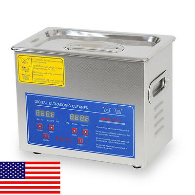 New Stainless Steel 3L Liter Industry Heated Ultrasonic Cleaner Heater Timer USA