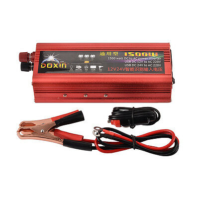 1500W Converter Modified Sine Wave Auto Power Inverter Car DC12V/24V to AC 220V