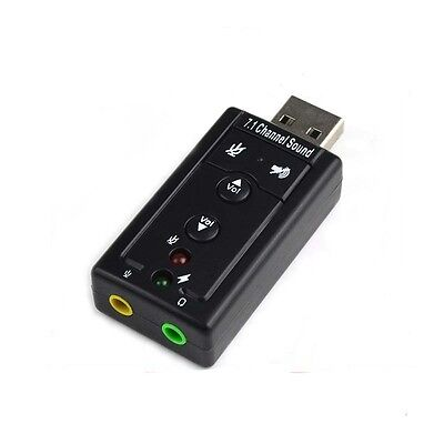 External Virtual 7.1 Channel USB 2.0 3D Audio Sound Card Laptop PC Mic Adapter