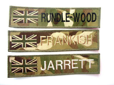MTP SUBDUED UNION JACK SEW ON NAME TAPE or ZAP BADGE DETAILS TRF ID ARMY SAS