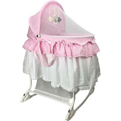 NEW HOMEWORTH BABY Bassinet With Mattress convertible to Rocking Bassinet Pink