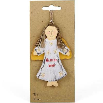 MY GUARDIAN ANGEL Handcarved Wooden Charm Gift