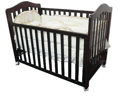 New 3 IN 1 Classic Cot Crib Toddle Timber Baby Bed Wheel Dropside
