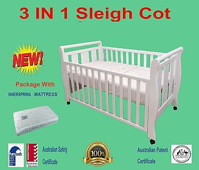 3 IN 1 Sleigh Cot & AU Made Innerspring mattress Timber Junior baby Bed Wheels i