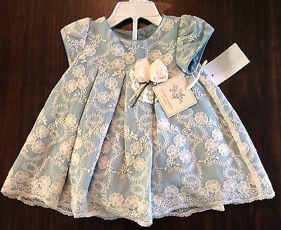 NWT Laura Ashley London Floral-Lace Flower-Appliqué Dress 3-6 Months