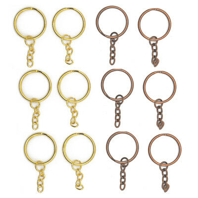 12 Keyring Blanks 4 Link Gold and Copper Tone Key Chains Findings Split Ring