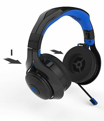 Gioteck FL400 Wireless Gaming Headset Mic + Bluetooth Speakers PS3 PS4 xBox One