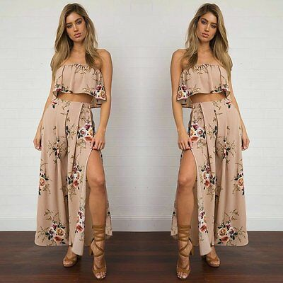 Women Crop Top Blouse+Long Pants Two-piece Playsuit Bodysuit Jumpsuit Romper Set