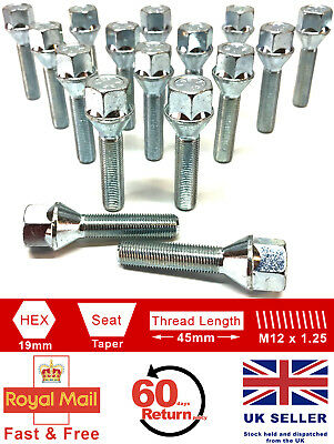 16 x M12 x 1.25 45mm extended thread 19mm Hex alloy wheel bolts for Fiat