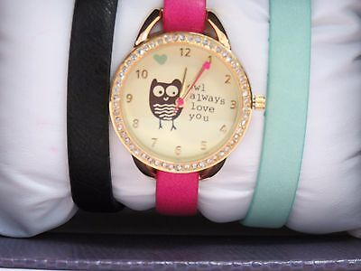 owl always love you watch with 2 extra watchbands