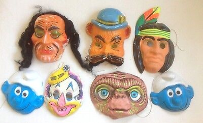 Lot 7 Vintage 1960-70 S' Plastic Funny Colour Face Masks Halloween Party