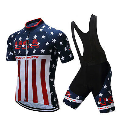 Hommes Vélo USA Team Cycling Short Sleeve Jersey Bib Shorts Sets Padded S-4XL