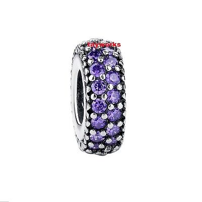 925 Sterling Silver Purple Pave Stone Spacer Charm fit European Bead Bracelet