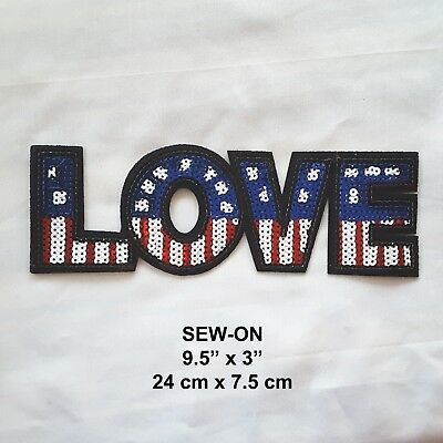 LOVE USA Flag Iron-on Emblem Sequins Embroidered Patriotic Badge Patch American