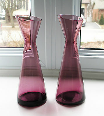 "Morgantown 2 Adams Slant Vases 9902 Purple Amethyst 7 3/4"" / Label 1960s USA"