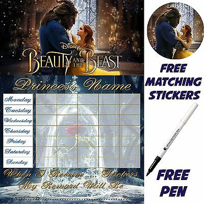 Beauty and the beast potty training reward chart, Stickers & pen. MAGNETIC v1