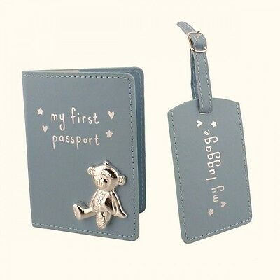Passport Holder & Luggage Tag Set for Baby Boy **FREE POSTAGE**