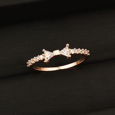 Women Romantic Shiny Tiny Crystal Bow Engagement Ring 18k White/Rose Gold Plated