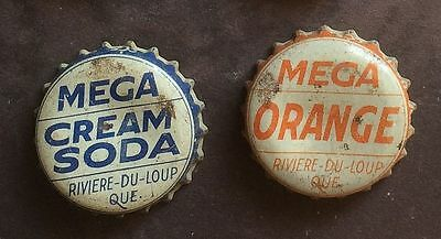 MEGA ORANGE & CREAM Quebec SODA cork lined crown caps CANADA bottle bottler !
