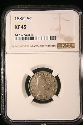 1886 Liberty V Nickel US Coin, NGC XF 45 , Full Liberty! Key Date!