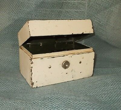 Vintage 40's/50's Metal 3X5 Index Card File Box-Painted White over Army Green