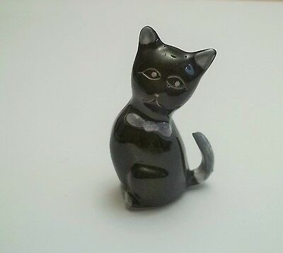 chat miniature en porcelaine,collection,animal,, cat, kat, poes, noir  *tp15-09