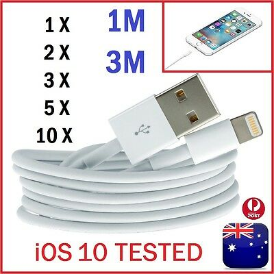 1-10Pack 1 Meter/ 3 Meter Long Data USB Charger Cable For iPhone 5 6 6S 7 iPad
