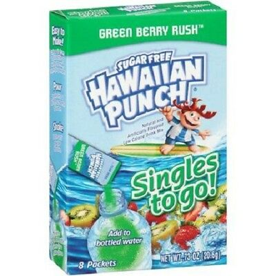 Hawaiian Punch Green Berry Rush Singles to Go Sugar Free Drink Mix